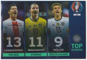 Adrenalyn XL UEFA Euro 2016, Top Scorers, #13, Robert Lewandowski / Zlatan Ibrahimovic / Thomas Muller