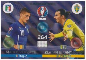 Adrenalyn XL UEFA Euro 2016, Friends and Foe, #26, Marco Verratti / Zlatan Ibrahimovic