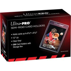 "Ultra Pro, Semi-Rigid Card Holder - 1/2"" Lip Sleeves (200 Holders) [Black box]"