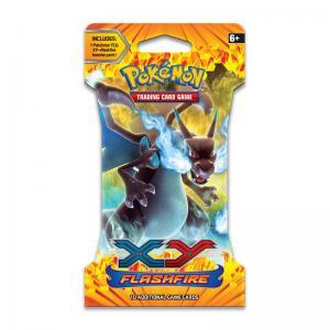 Pokémon, XY Flashfire, 1 Sleeved Booster - Art: Mega Charizard X (svart)