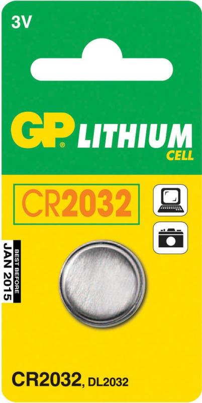 Batteri GP Lithium CR2032, Höjd 3,2 x Dia 20 mm