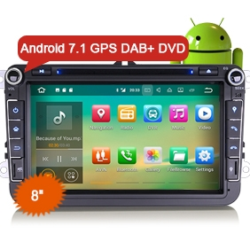 "VW Android 7.1 Car DVD Erisin ES3715V 8"" DAB+ 3G Radio GPS Navigation"