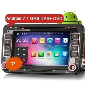 """7"""" New Android 7.1 Nougat OS Car DVD GPS 3G WiFi DAB+ for VW"""