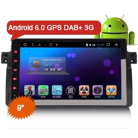 "9"" Android 6.0 Marshmallow OS Car GPS Sat Navi DAB+ for E46 M3 NO DVD Function"