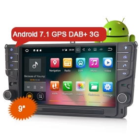 "Erisin ES3711G 9"" Car Stereo System Android 7.1 WiFi 3G DVR DAB+ GPS Navigation For VW Golf 7"