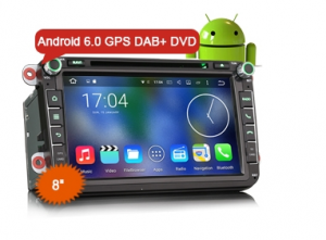 "8"" Android 6.0 Octa Core Bil GPS Sat DVD DAB+ for VW"