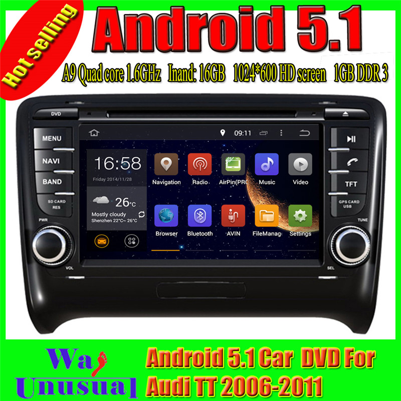Double din android car stereo gps navigation car steering wheel for Audi TT