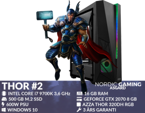 Nordic Gaming Asgard Thor # 2 - Tower - Core i7 9700K 3,6 GHz - 16 GB - 500 GB - 2070 8 GB