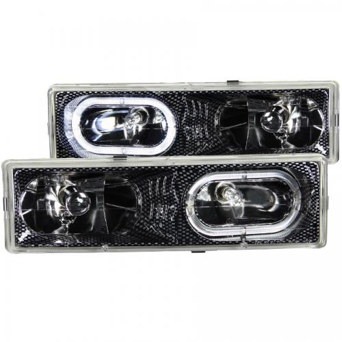 Chevrolet Suburban 1992-1999 Crystal Headlights Carbon w/ Halo ANZO
