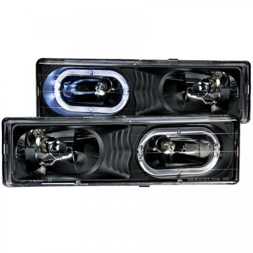 Chevrolet Suburban 1992-1999 Crystal Headlights Black w/ Halo ANZO