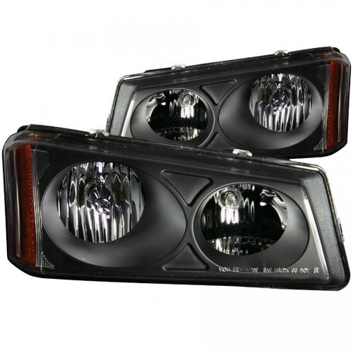 Chevrolet Avalanche 2003-2006 W/O BODY CLADDING Crystal Headlights Black ANZO