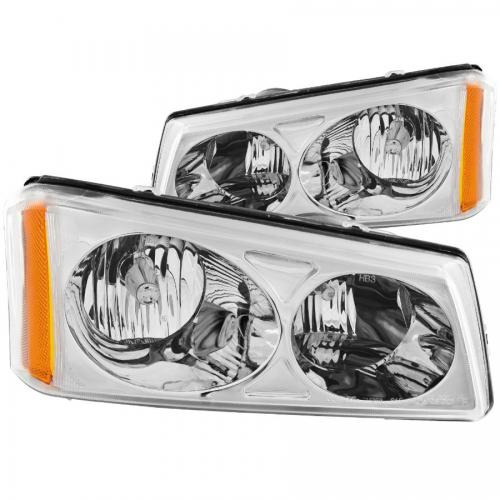 Chevrolet Avalanche 2003-2006 W/O BODY CLADDING Crystal Headlights Chrome ANZO