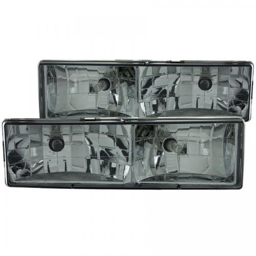 Chevrolet Suburban 1992-1999 Crystal Headlights w/ Smoke Lens ANZO