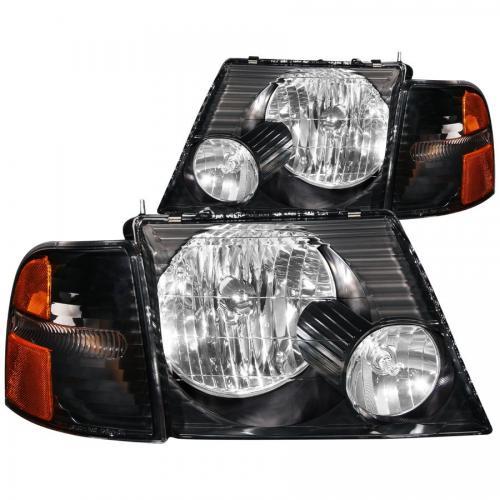 FORD Explorer 2002-2005 Crystal Headlights Black w/ Corner Lights 2pc ANZO