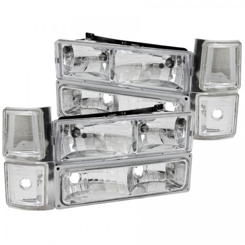 Chevrolet Suburban 1994-1999 Crystal Headlights Chrome w/ Signal & Side Marker Lights ANZO