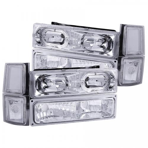 Chevrolet Suburban 1994-1999 Crystal Headlights w/ Halo Chrome w/ Signal & Side Marker Lights ANZO