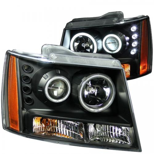 Chevrolet Avalanche 2007-2013 Projector Headlights w/ Halo Black (SMD LED) ANZO