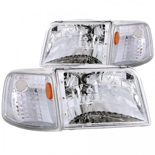FORD Ranger 1993-1997 Crystal Headlights Chrome w/ Corner Lights 2pc ANZO