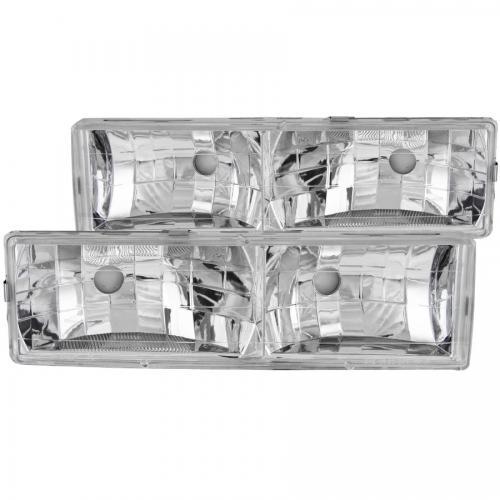 Chevrolet Suburban 1992-1999 Crystal Headlights Chrome w/o Bulbs ANZO