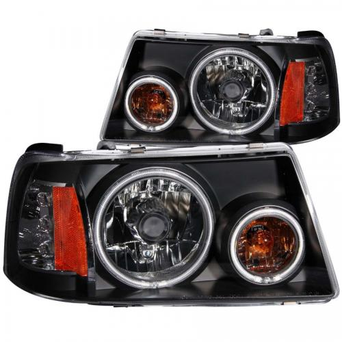 FORD Ranger 2001-2011 Crystal Headlights w/ Halo Black (SMD LED) 1 pc ANZO