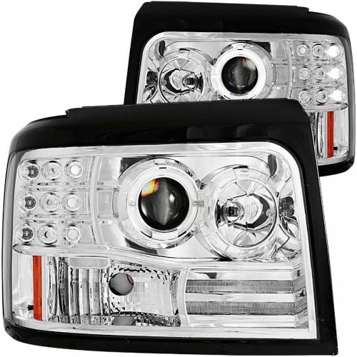 FORD F-250 1992-1998 Projector Headlights w/ Halo Chrome w/ Side Markers & Parking Lights ANZO