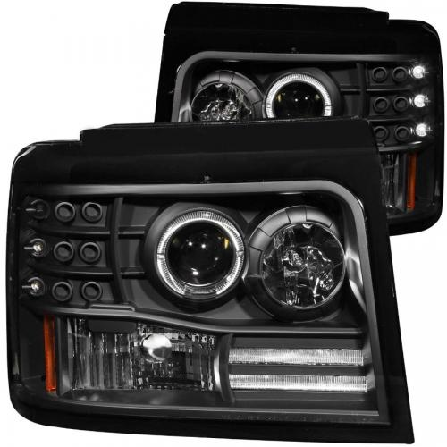 FORD F-250 1992-1998 Projector Headlights w/ Halo Black w/ Side Markers & Parking Lights ANZO