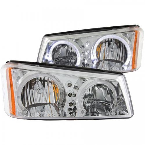 Chevrolet Avalanche 2003-2006 W/O BODY CLADDING Crystal Headlights w/ Halo Chrome ANZO