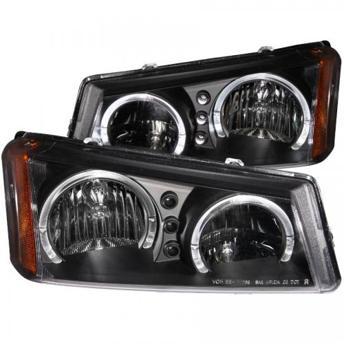 Chevrolet Avalanche 2003-2006 W/O BODY CLADDING Crystal Headlights w/ Halo Black ANZO