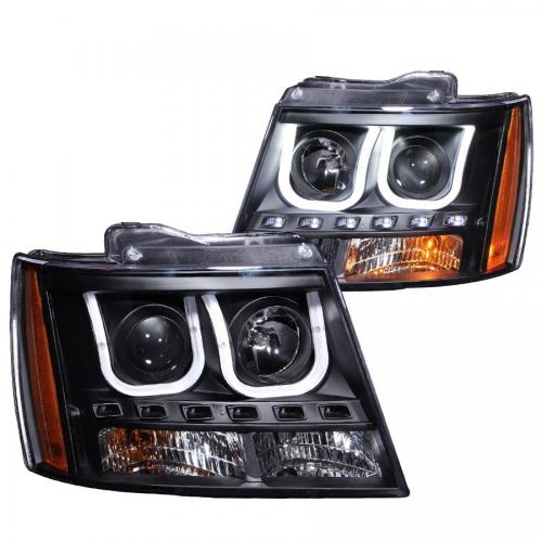 Chevrolet Avalanche 2007-2013 Projector Headlights w/ U-Bar Black ANZO