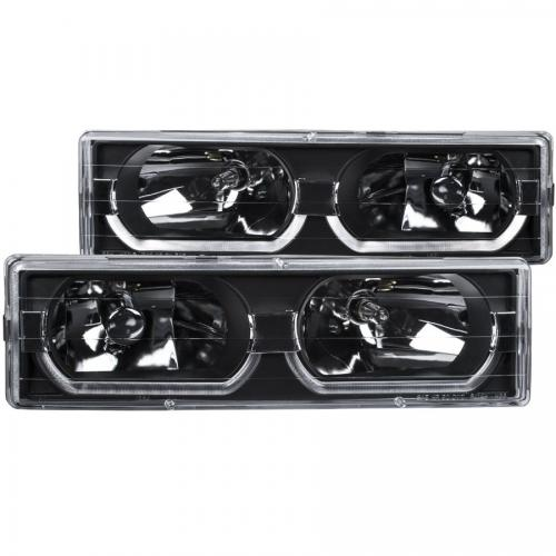 Chevrolet Suburban 1992-1999 Crystal Headlights Black w/ Low - Brow ANZO