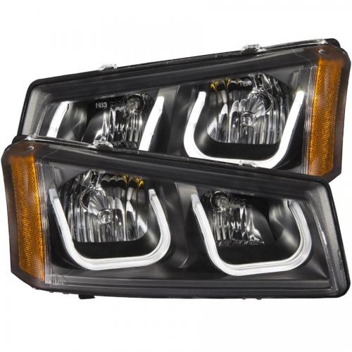 Chevrolet Avalanche 2003-2006 W/O BODY CLADDING Projector Headlights w/ U-Bar Black ANZO
