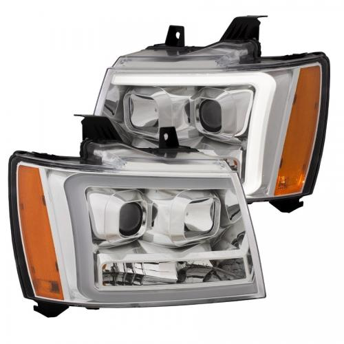 Chevrolet Avalanche 2007-2014 Projector Headlights w/ Plank Style Switchback Chrome w/ Amber ANZO