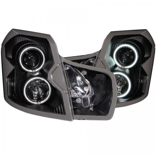 Cadillac CTS 2003-2007 Projector Headlights w/ Halo Black (SMD LED) ANZO
