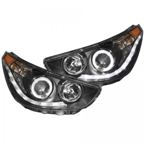 Hyundai Accent 2012-2013 4DR / Hatchback Projector Headlights w/ Halo Black (SMD LED) ANZO