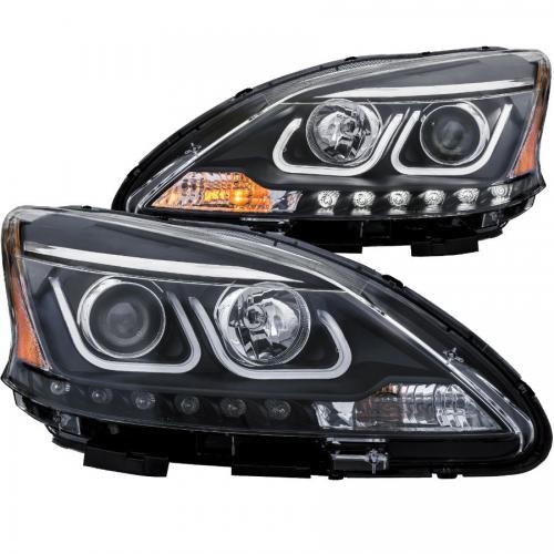 Nissan SENTRA 2013-2015 Projector Headlights w/ U-Bar Black ANZO