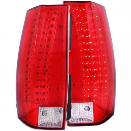 Chevrolet Suburban 2007-2014 LED Taillights Red/Clear - Escalade Look ANZO