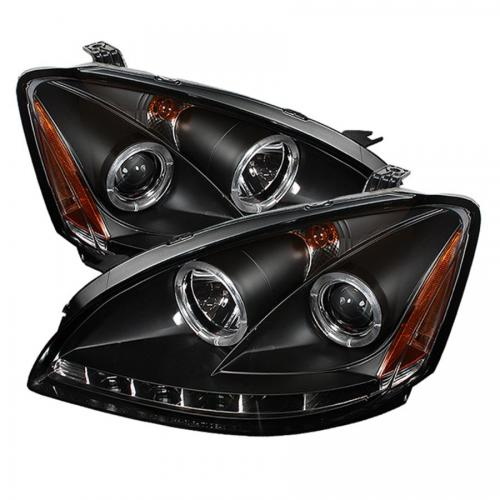 Nissan Altima 02-04 Projector Headlights  LED Halo - LED ( Replaceable LEDs ) - Black