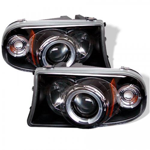 Dodge Dakota 97-04 / Durango 98-03 1PC Strålkastare Projektor - LED Halo  Svarta