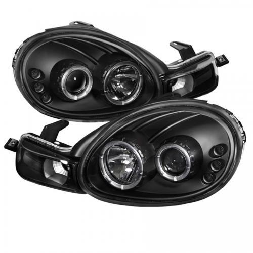 Dodge Neon 00-02 Strålkastare Projektor - LED Halo  Svarta