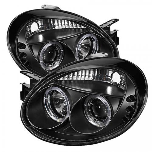 Dodge Neon 03-05 Strålkastare Projektor - LED Halo  Svarta