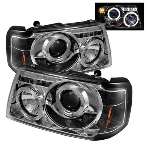 Ford Ranger 01-11 1PC Projector Headlights - LED Halo - LED ( Replaceable LEDs ) - Chrome