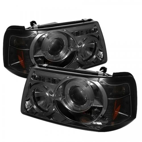 Ford Ranger 01-11 1PC Projector Headlights - LED Halo - LED ( Replaceable LEDs ) - Smoke