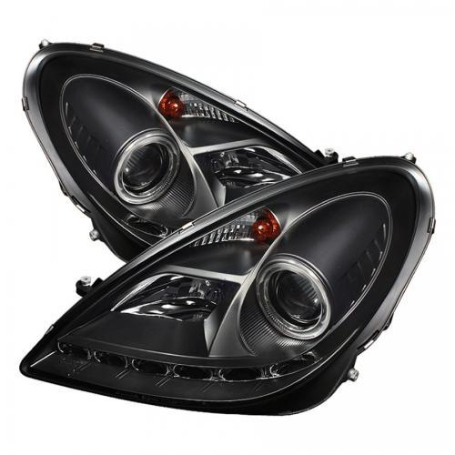 Mercedes Benz SLK 05-10 Strålkastare (Passar ej Xenon/HID-Modeller) - DRL - Svarta