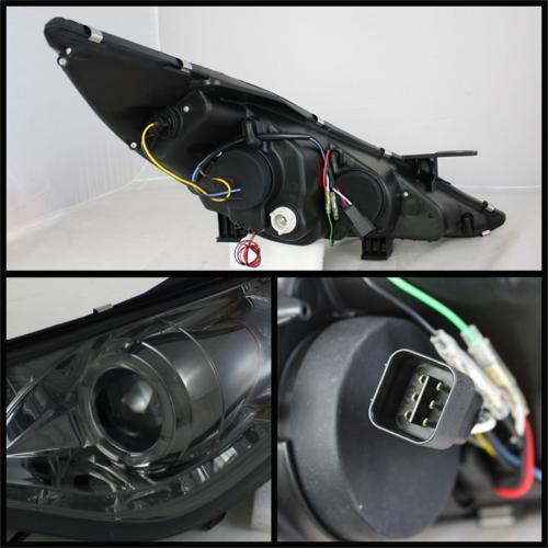 Hyundai Sonata 11-13 Strålkastare Projektor (Passar ej Hybrid Modeller) - LED Halo - DRL – Röktonade