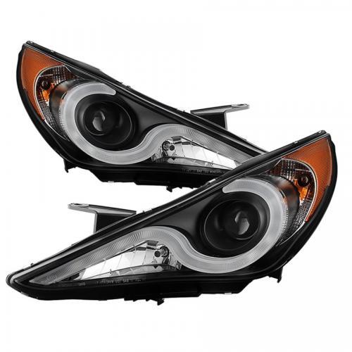 Hyundai Sonata 11-13 Verson 2 Strålkastare Projektor (Passar ej Hybrid Modeller) - Ljuslist DRL – Svarta