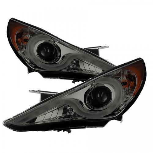 Hyundai Sonata 11-13 Verson 2 Strålkastare Projektor (Passar ej Hybrid Modeller) - Ljuslist DRL – Krom