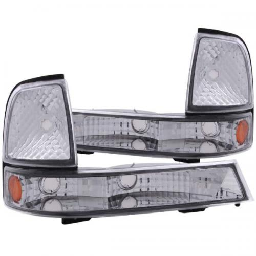 FORD Ranger 1998-2000 Euro Parking Lights Chrome w/ Amber Reflector ANZO