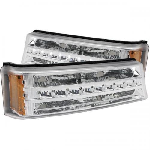 Chevrolet Avalanche 2003-2006 W/O BODY CLADDING LED Parking Lights Chrome w/ Amber Reflector ANZO