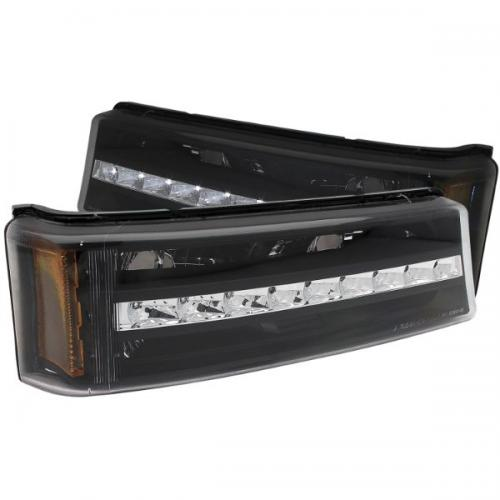 Chevrolet Avalanche 2003-2006 W/O BODY CLADDING LED Parking Lights Black w/ Amber Reflector ANZO
