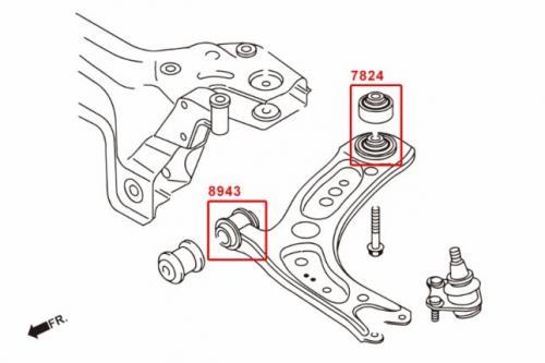 Audi / Skoda / VW Främre Nedre Länkarm Främre Bussningar (Förstärkt Gummibussning) - 2Delar/Set Hardrace